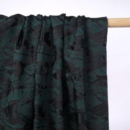 Tissu jacquard noir à motif feuilles vertes et noires  - pretty mercerie - mercerie en ligne