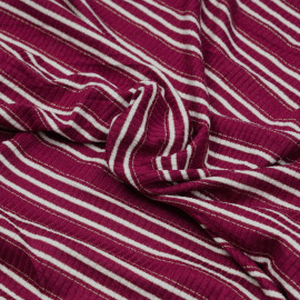 Tissu jersey viscose côtelé et rayé beaujolais, blanc et fil lurex or x 10cm
