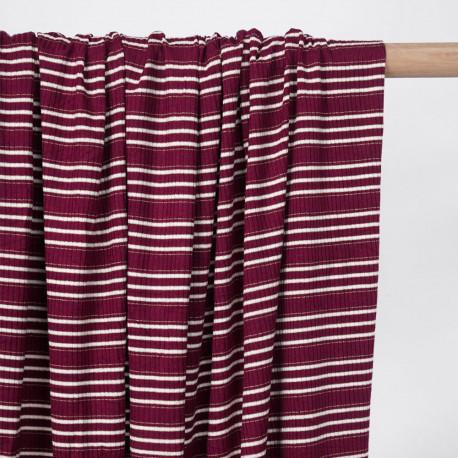 Tissu jersey viscose côtelé et rayé beaujolais, blanc et fil lurex or - pretty mercerie - mercerie en ligne
