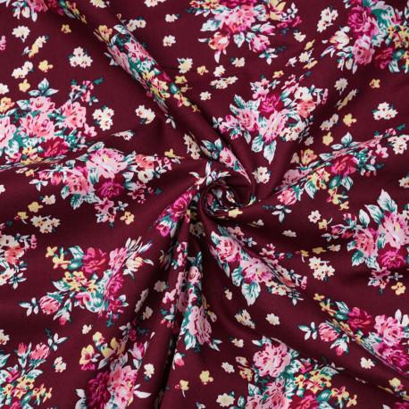 Tissu coton rhododendron à motif fleuri fuchsia, vert et jaune - pretty mercerie - mercerie en ligne