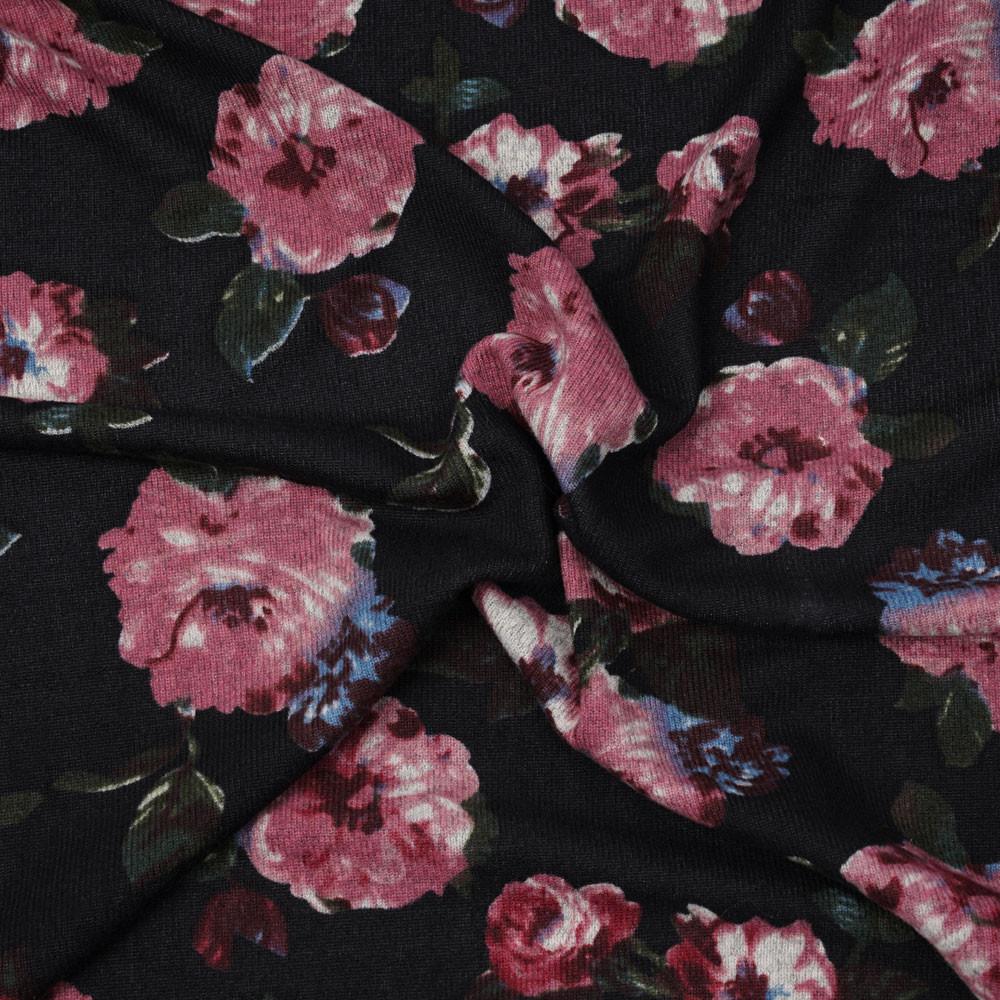 Tissu jersey noir à motif fleuri berry et vert - pretty mercerie - mercerie en ligne