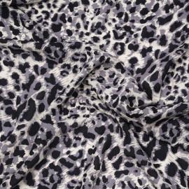 Tissu viscose crème à motif léopard gris et noir X 10 CM