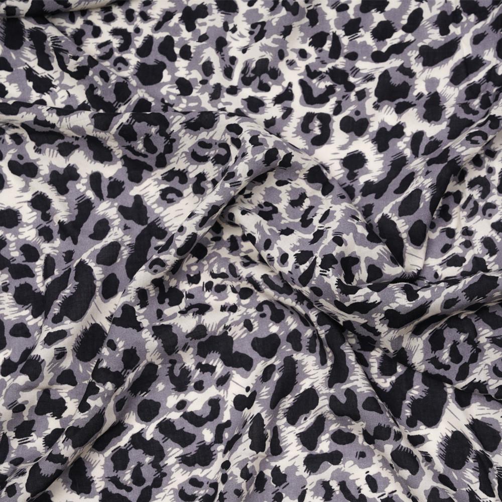 Tissu viscose crème à motif léopard gris et noir - pretty mercerie - mercerie en ligne
