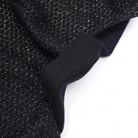 tissu lainage tricoté noir et fil lurex or - pretty mercerie - mercerie en ligne