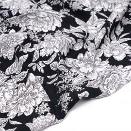 Tissu viscose noire à motif grosses fleurs blanches - pretty mercerie - mercerie en ligne
