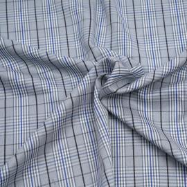Tissu Prince de Galles bleu palace, gris, noir et blanc x 10 cm