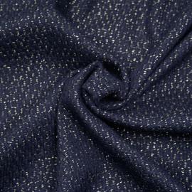 tissu lainage tricoté bleu et fil lurex or x 10cm
