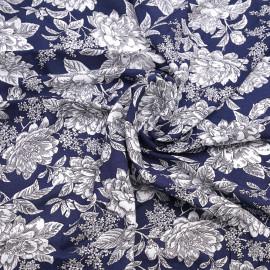 Tissu viscose bleu marine à motif grosses fleurs blanches X 10 CM