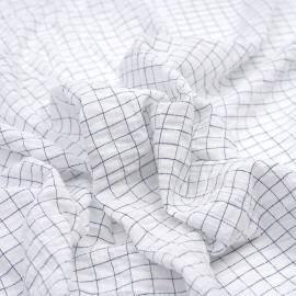 Tissu coton blanc effet froissé à motif petits carreaux bleu marine X 10 CM
