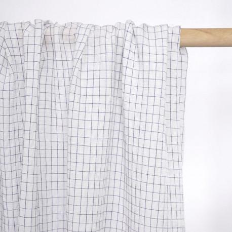 Tissu coton blanc effet froissé à motif petits carreaux bleu marine - pretty mercerie - mercerie en ligne