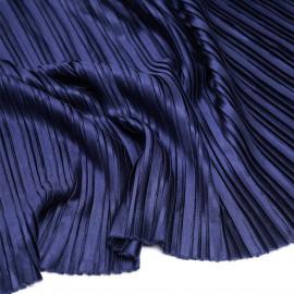 Tissu plissé bleu marine satiné x 10 cm