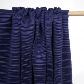 Tissu plissé bleu marine satiné - pretty mercerie - mercerie en ligne