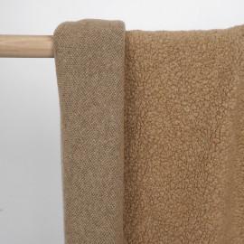 Tissu lainage bouclé effet mouton tanin - pretty mercerie - mercerie en ligne