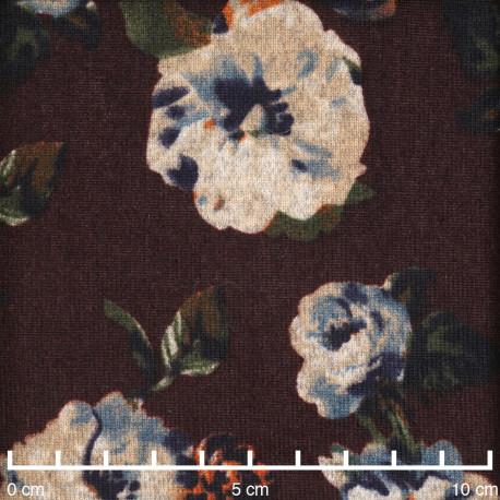 Tissu jersey bitter chocolate à motif fleuri beige orange bleu et kaki  - pretty mercerie - mercerie en ligne