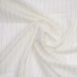 Tissu coton blanc cassé à rayures tissées dorées x 10cm