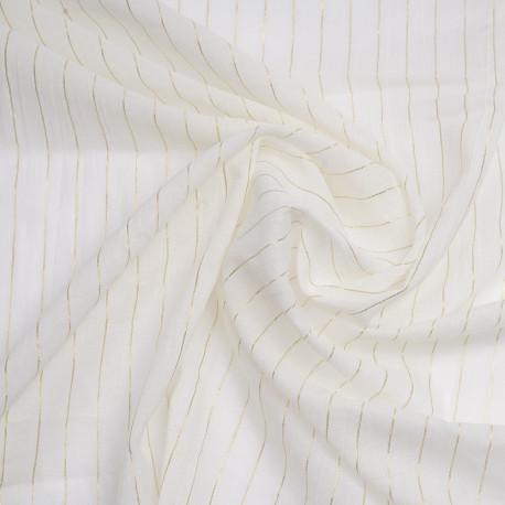 Tissu coton blanc cassé à rayures tissées dorées - pretty mercerie - mercerie en ligne
