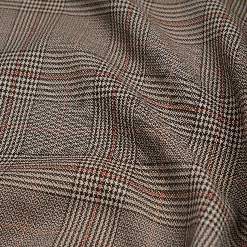 Tissu Prince de Galles marron, beige et orange rust - pretty  mercerie - mercerie en ligne