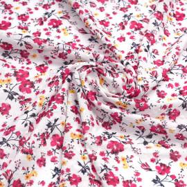 Tissu coton brodé blanc à motif imprimé fleuri rose x 10cm