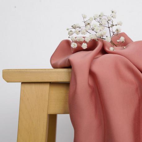 Tissu Tencel rose terra-cotta satiné - pretty mercerie - mercerie en ligne