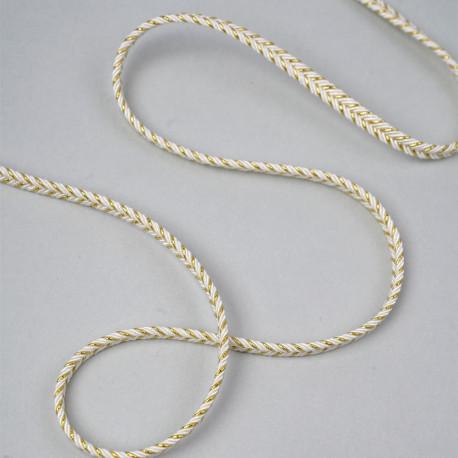 Galon tressé natte blanc et fil métallique or 5mm - pretty mercerie - mercerie en ligne