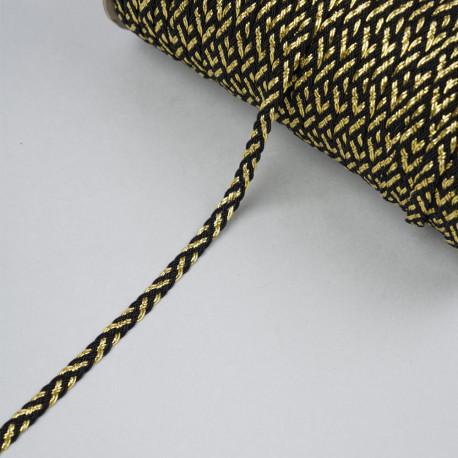 Galon tressé noir et fil métallique or 6mm - pretty mercerie - mercerie en ligne