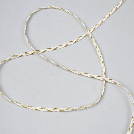 Galon tressé 6 brins blanc et fil métallique or 3mm - pretty mercerie - mercerie en ligne