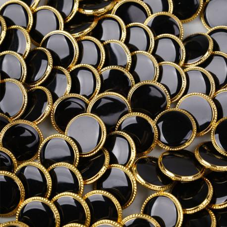 Bouton métal à queue noir liseré tressé doré 19 mm - pretty mercerie - mercerie en ligne