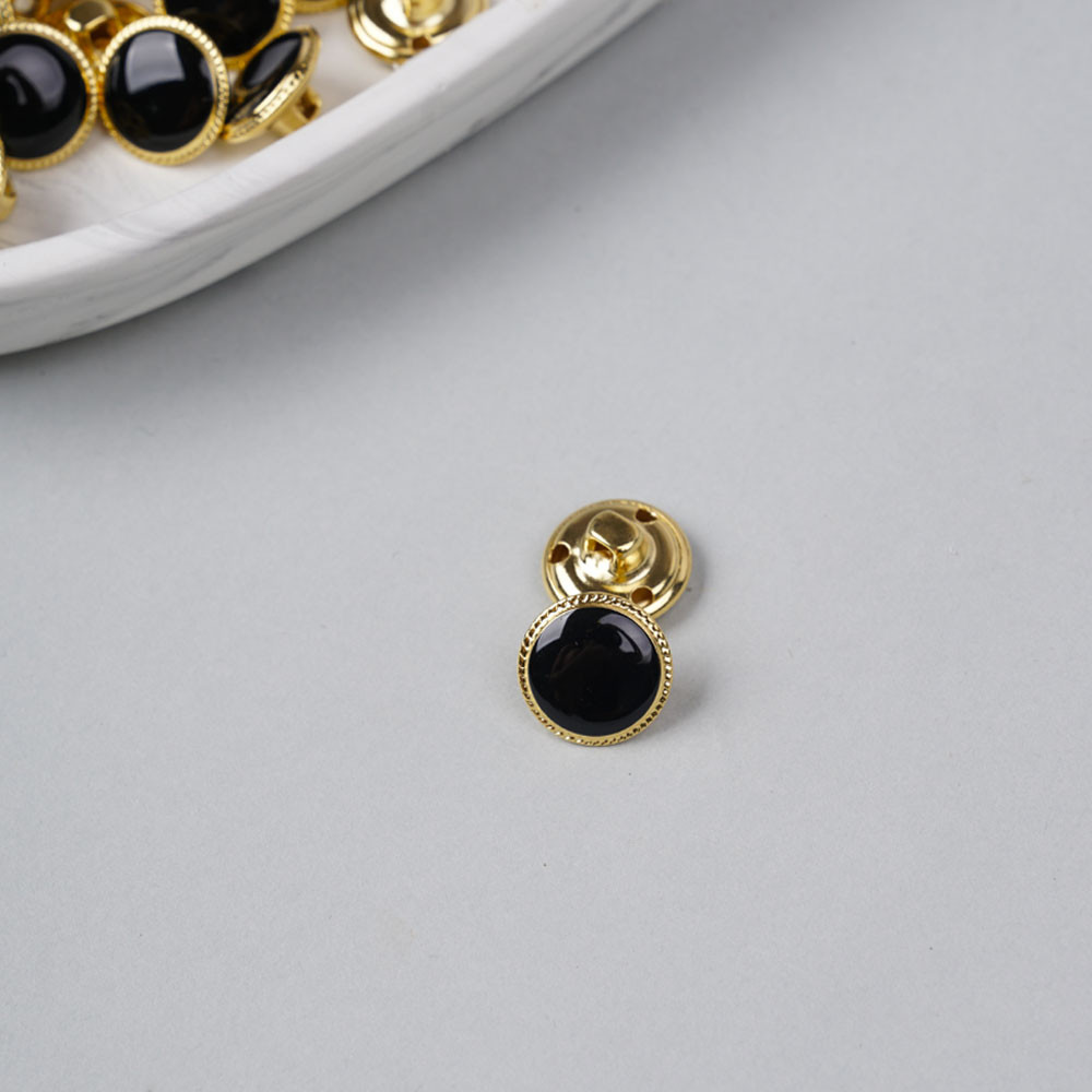 Bouton métal à queue noir liseré tressé doré 15 mm - pretty mercerie - mercerie en ligne
