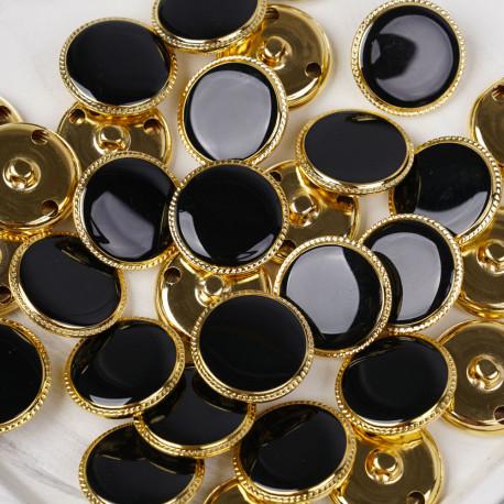 Bouton métal à queue noir liseré tressé doré 25 mm - pretty mercerie - mercerie en ligne