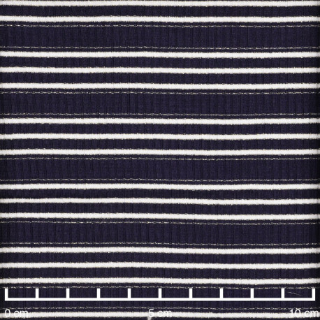 Tissu jersey viscose côtelé et rayé bleu marine, blanc et fil lurex or - pretty mercerie - mercerie en ligne