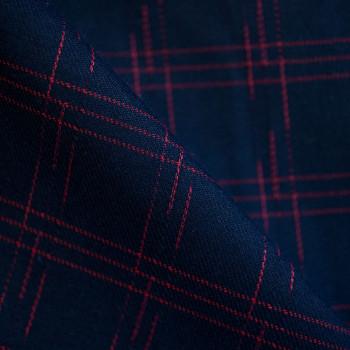 Tissu polyester graphique bleu de minuit & rouge x 10cm