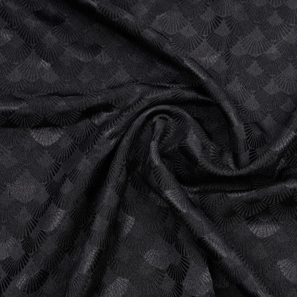 Tissu jacquard noir satiné à motif éventail - pretty mercerie - mercerie en ligne