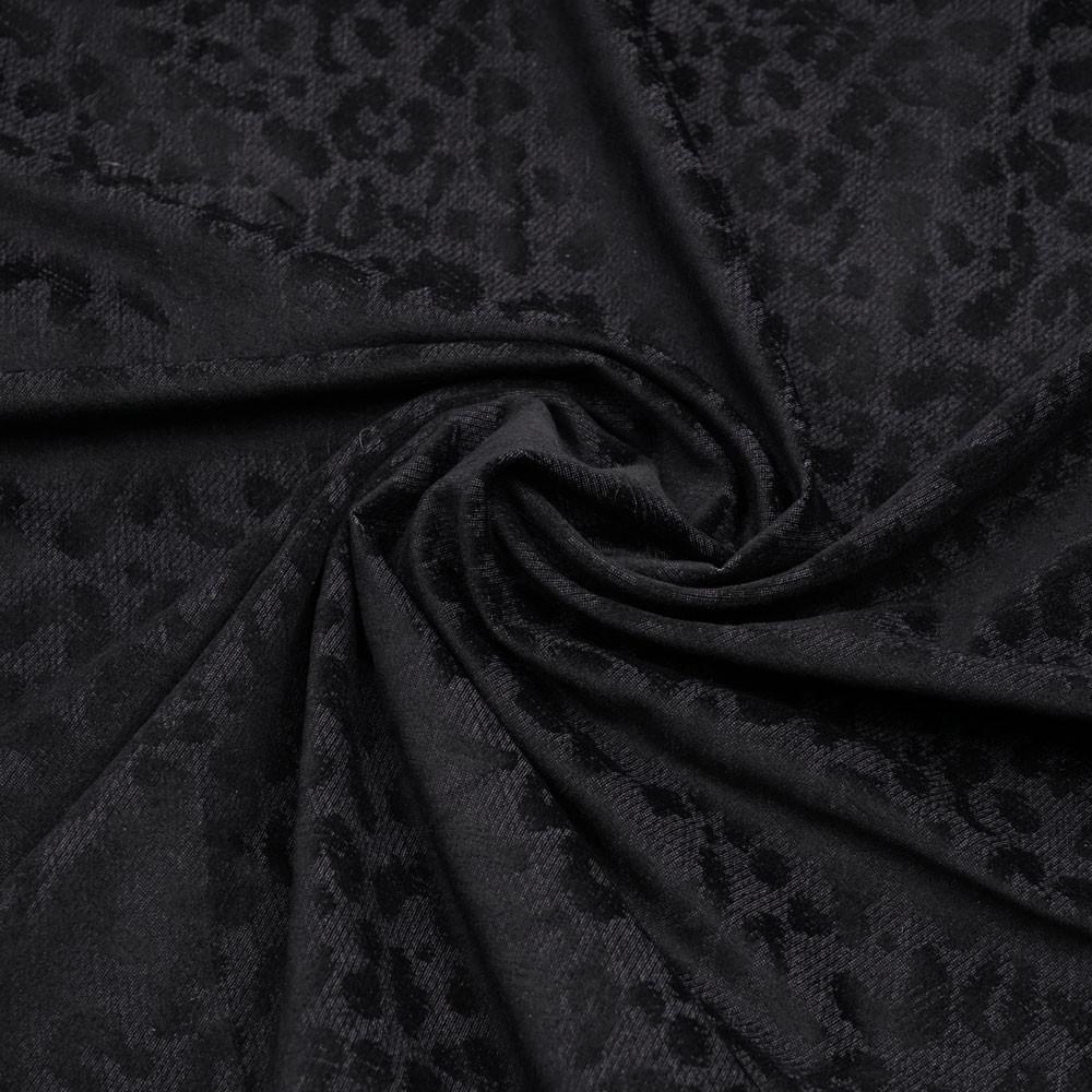 Tissu jacquard noir à motif léopard velours - mercerie en ligne - pretty mercerie