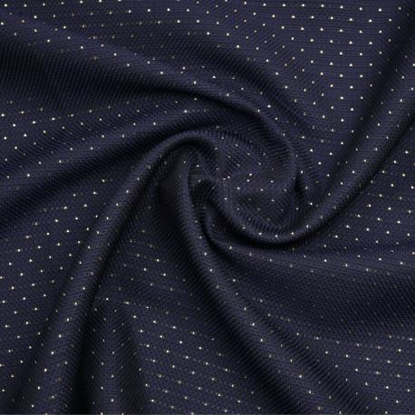 Tissu jacquard bleu nuit à motif nid d'abeille et points dorés - pretty mercerie - mercerie en ligne