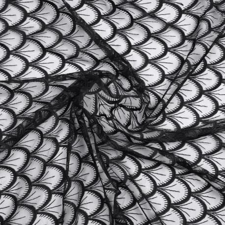 Tissu mousseline noir à motif éventail brodé  - pretty mercerie - mercerie en ligne