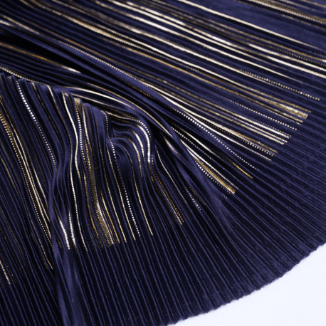Tissu plissé bleu satiné à motif imprimé doré - mercerie en ligne - pretty mercerie