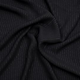 Tissu crêpe noir à rayures lurex noir x 10 cm