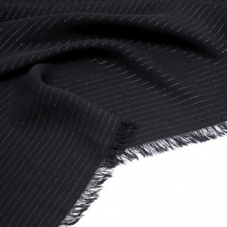 Tissu crêpe noir à rayures lurex noir  - pretty mercerie - mercerie en ligne
