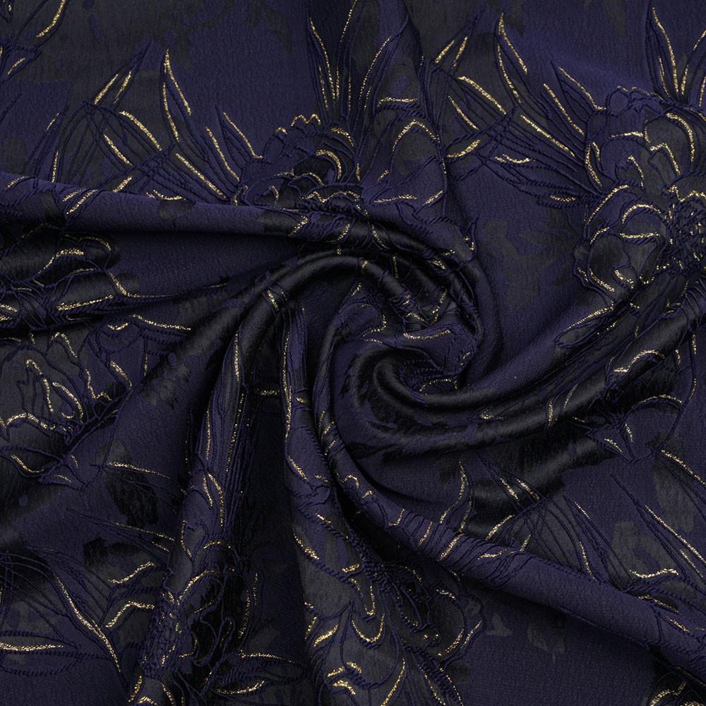 Tissu jacquard noir à motif fleuri bleu et doré - mercerie en ligne - pretty mercerie