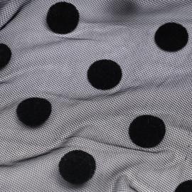 Tissu mousseline noir à motif pois velours - mercerie en ligne - pretty mercerie