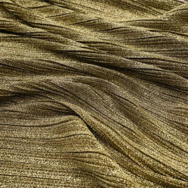 Tissu plissé pailleté doré x 10 cm
