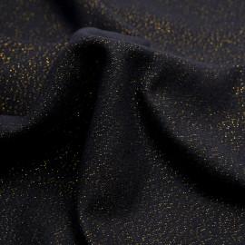 Tissu lainage noir et fil lurex doré - pretty mercerie - mercerie en ligne