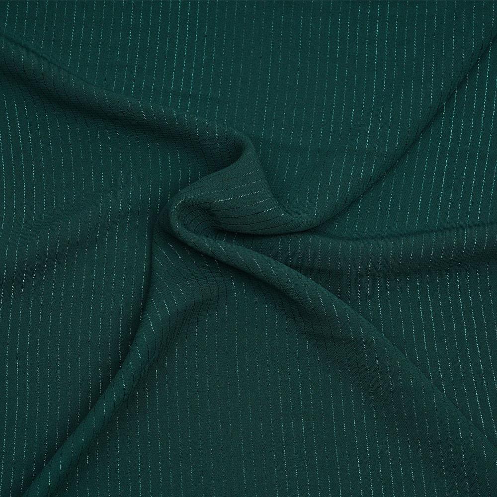 Tissu crêpe vert evergreen à rayures lurex vert - pretty mercerie - mercerie en ligne