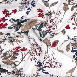 Tissu viscose blanche à motif sous bois taupe rouge et bleu  - pretty mercerie - mercerie en ligne
