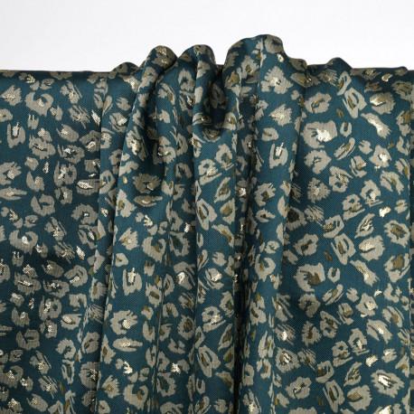 Tissu jacquard vert evergreen à motif léopard doré et fil lurex or - pretty mercerie  - mercerie en ligne