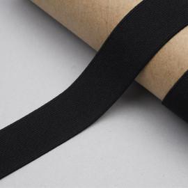 ruban élastique polyester recyclé noir côtelé | Pretty Mercerie | Mercerie en ligne