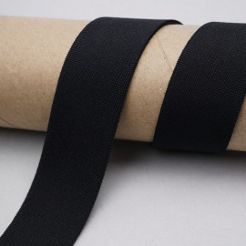 ruban élastique polyester recyclé noir tricoté | Pretty mercerie | mercerie en ligne