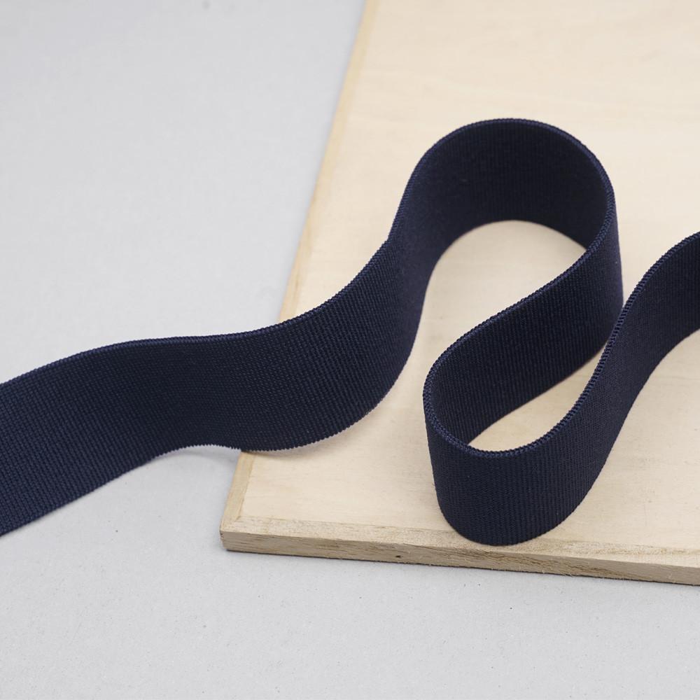 ruban élastique polyester recyclé bleu marine tricoté | pretty mercerie | mercerie en ligne