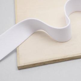 ruban élastique polyester recyclé blanc tricoté | pretty mercerie | Mercerie en ligne