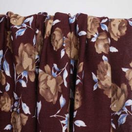 Tissu viscose chocolate truffle à motif fleuri beige et bleu | Pretty Mercerie | mercerie en ligne